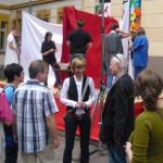 Die Eröffnung mit der Oberbürgermeisterin Frau Ludwig und Herrn Heumeyer zum 1. Straßentheaterfest in Chemnitz