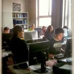 Schüler der 10. Klasse der Pestallozischule beim Posten in die Ideenmaschine, 2012