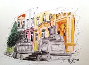 Zeichnung von V.Hilbert, Würzburger Straße