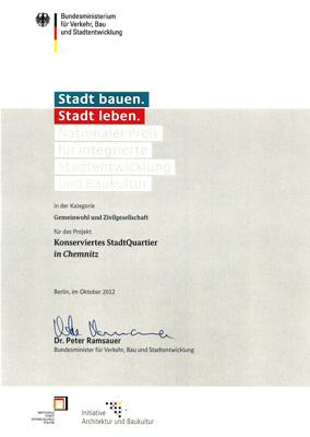 Urkunde: Nationaler Preis für integrierte Stadtenwicklung und Baukultur, Stadthalten-Chemnitz e.V. , 2012