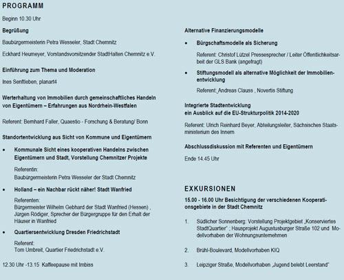 Programm: Fachforum Eigentümer im Quartier, Chemnitz 2012